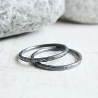 Set of 2 Oxidised Sterling Silver Hammered Skinny Stacking Ring Bands