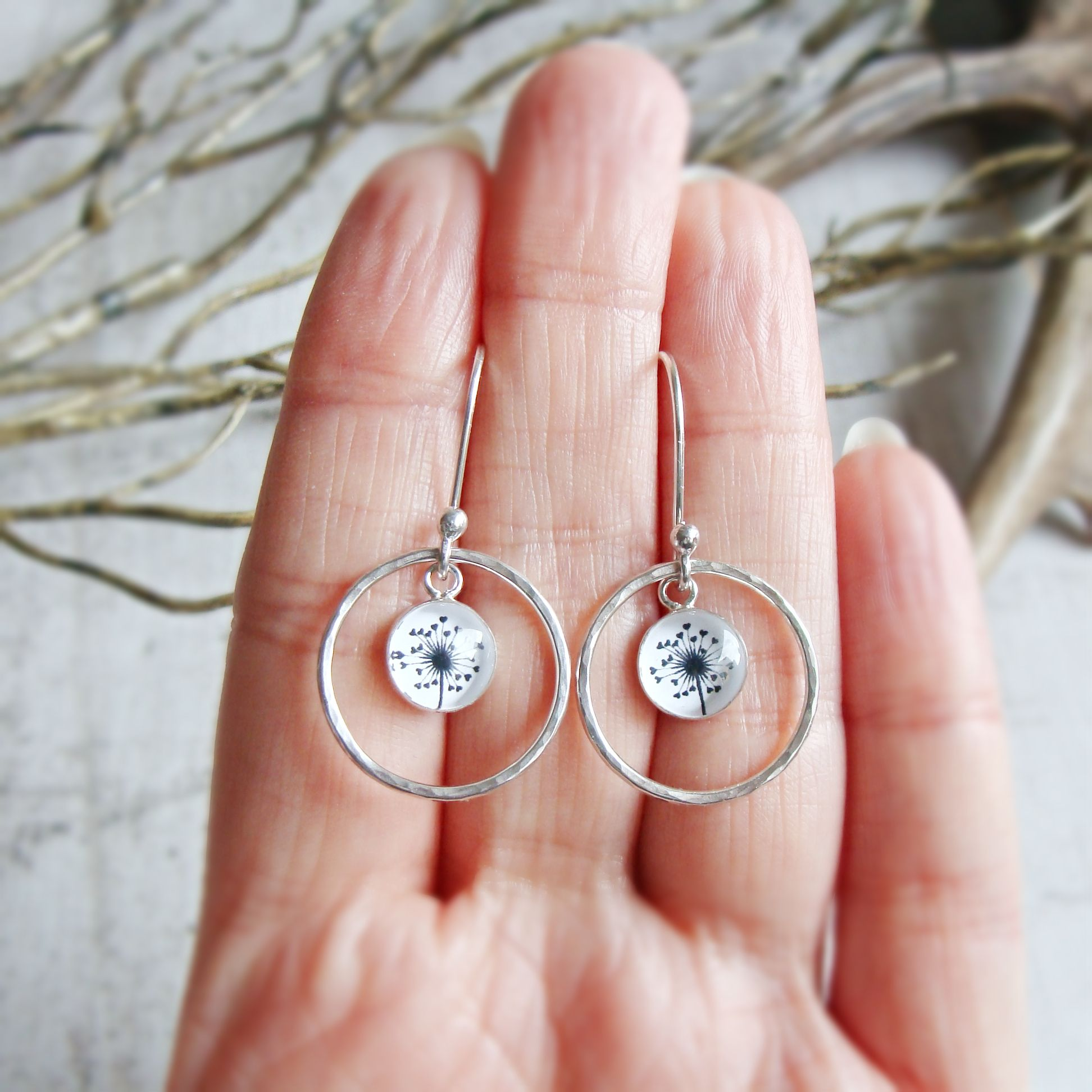 Sterling Silver  Dandelion Illustration Charm Earrings