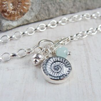 Sterling Silver Ammonite Illustration Charm Bracelet with Tiny Silver Shell & Amazonite
