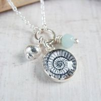 Sterling Silver Ammonite Illustration Charm Necklace with Tiny Silver Shell & Amazonite