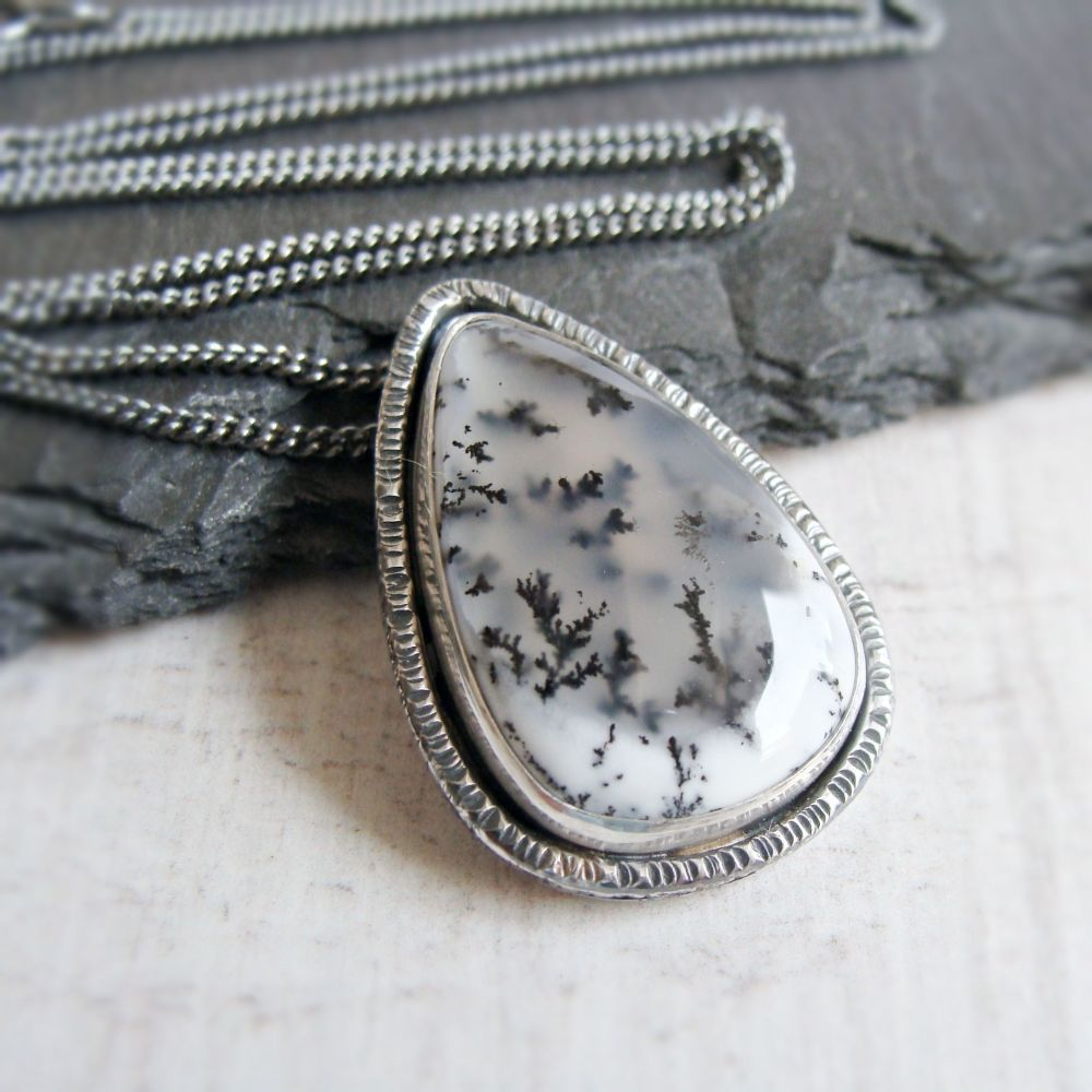 Sterling Silver Teardrop Dendritic Agate Pendant Necklace No.4 from the SSx
