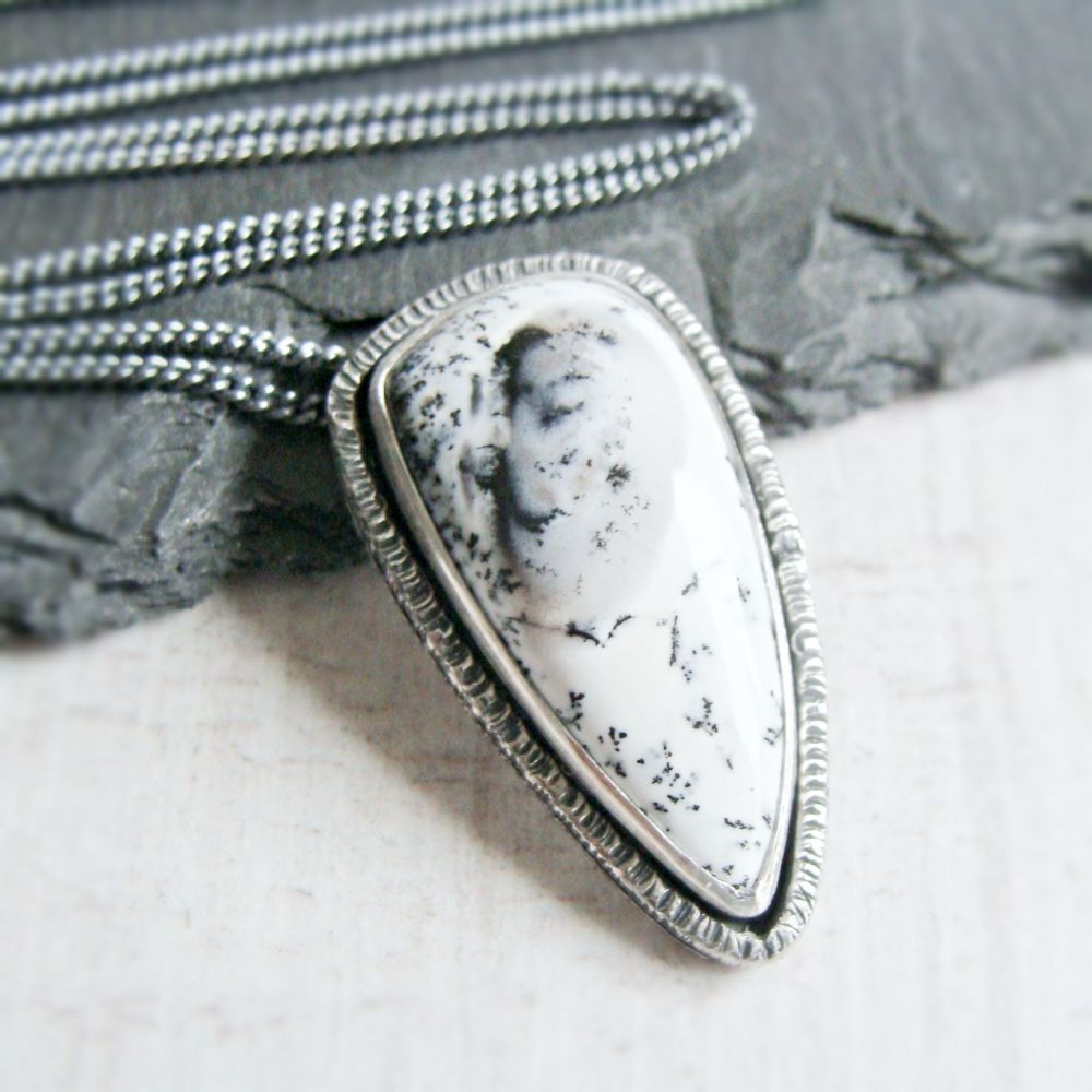Sterling Silver Teardrop Dendritic Agate Pendant Necklace No.5 from the SSx