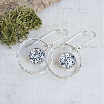 Custom Order for Joanna- Sterling Silver Dandelion Illustration Charm Circle Framed Dangly Earrings