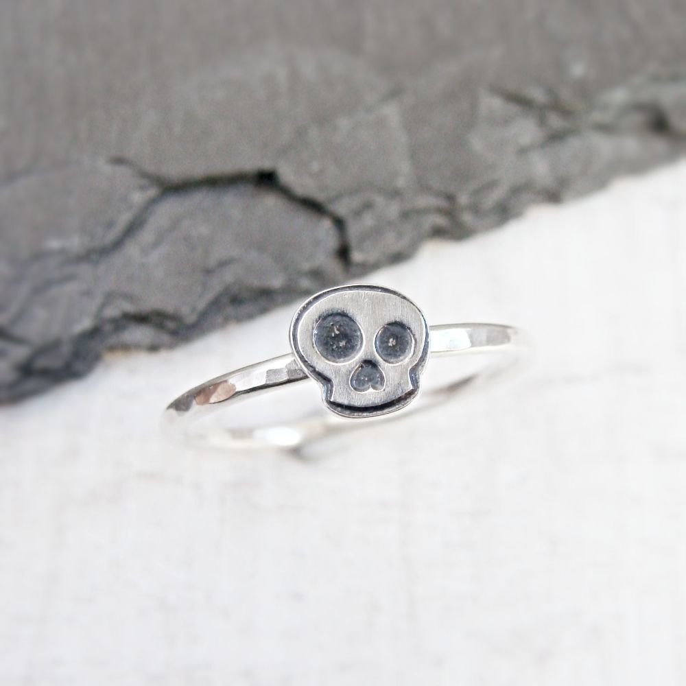 Sterling Silver Skull Stacking Ring