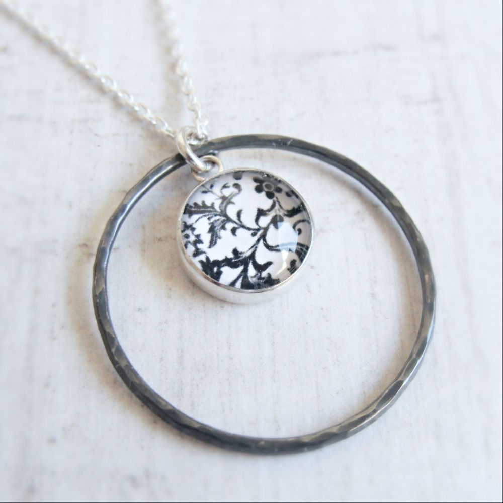 Oxidised Sterling Silver Floral Black & White Art Charm with Hammered Circl