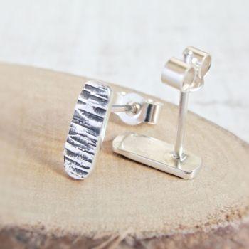 Sterling Silver Hammered Birch Tree Bark Textured Bar Stud Earrings