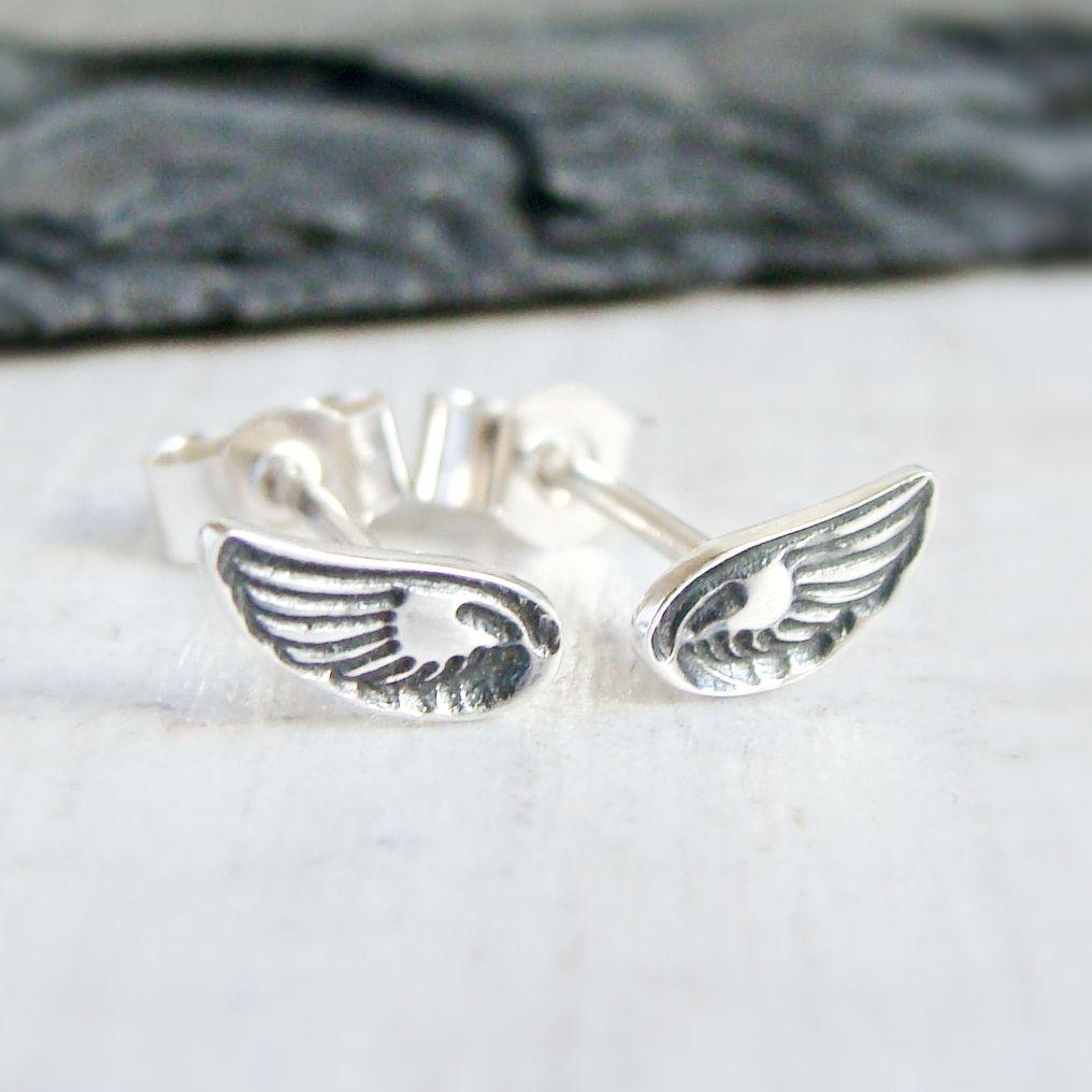Sterling Silver Stamped Wing Stud Earrings