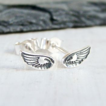 Sterling Silver Tiny Stamped Wing Stud Earrings