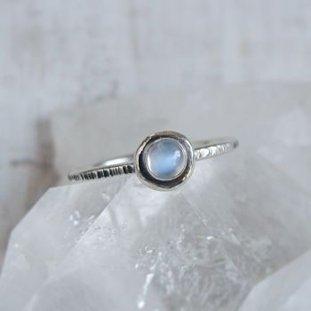 Recycled Sterling Silver Blue Moonstone Pebble Stacking Ring No.3 (size Q)