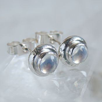 Recycled Sterling Silver Blue Moonstone Pebble Stud Earrings