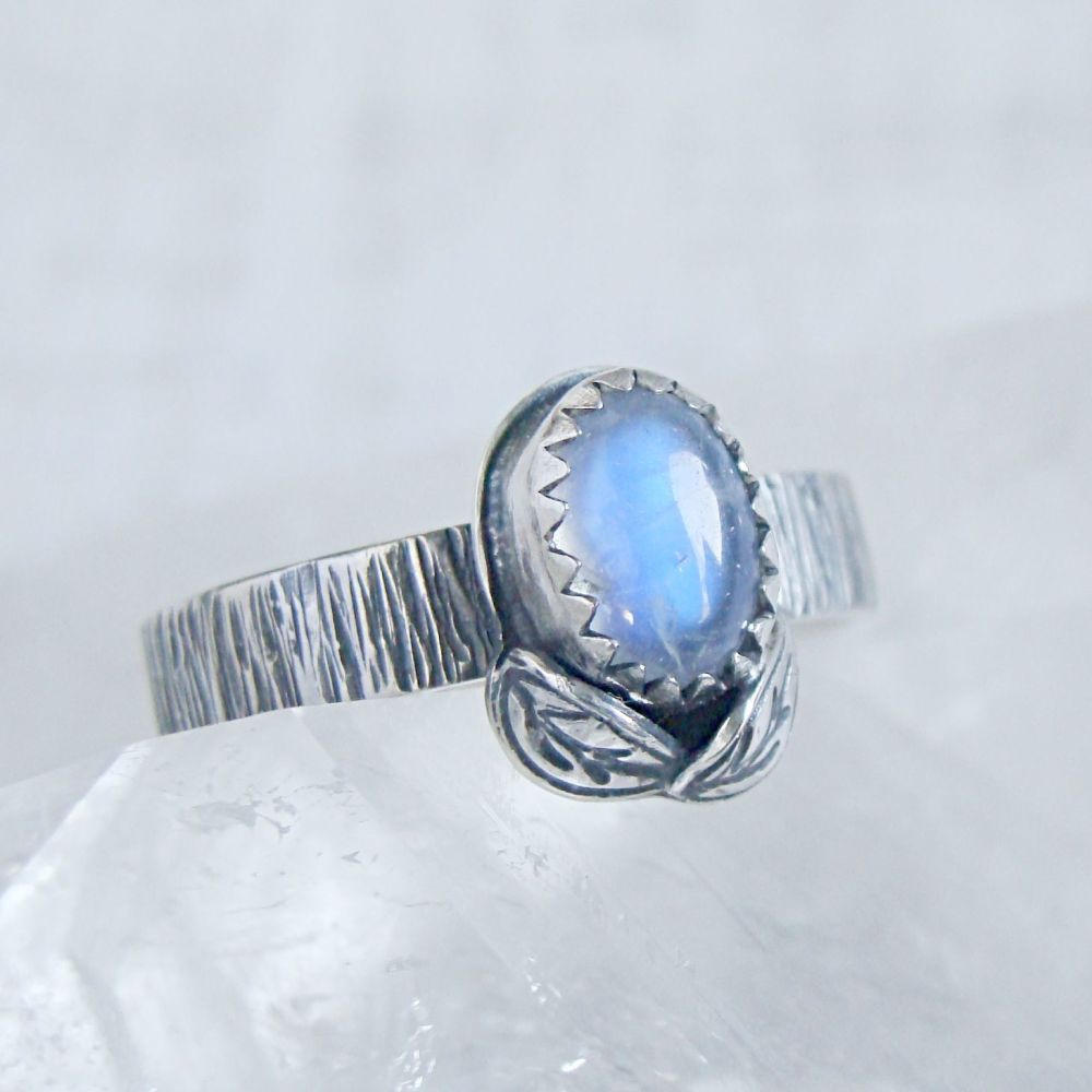 Sterling Silver Oval Moonstone Woodland Leaf Ring No.1 (Size L 1/2).