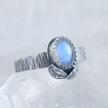 Sterling Silver Oval Moonstone Woodland Leaf Ring No.1 (Size L 1/2).