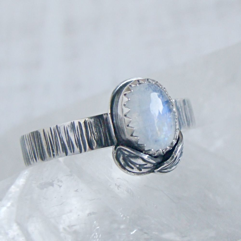 Sterling Silver Oval Moonstone Woodland Leaf Ring No.2 (Size N 1/2).