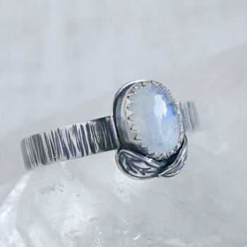 Sterling Silver Oval Moonstone Woodland Leaf Ring No.2 (Size N 1/2).