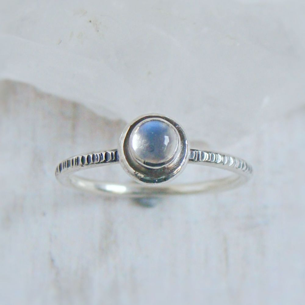 Recycled Sterling Silver Blue Moonstone Pebble Stacking Ring No.1 (size K)