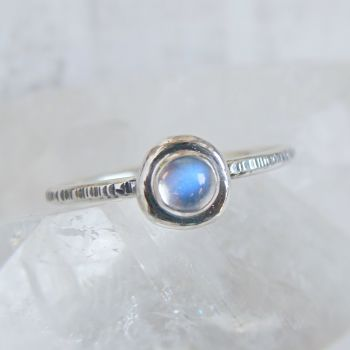 Recycled Sterling Silver Blue Moonstone Pebble Stacking Ring No.2 (size M 1/2)