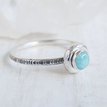 Recycled Sterling Silver Amazonite Pebble Stacking Ring No.1 (size K)