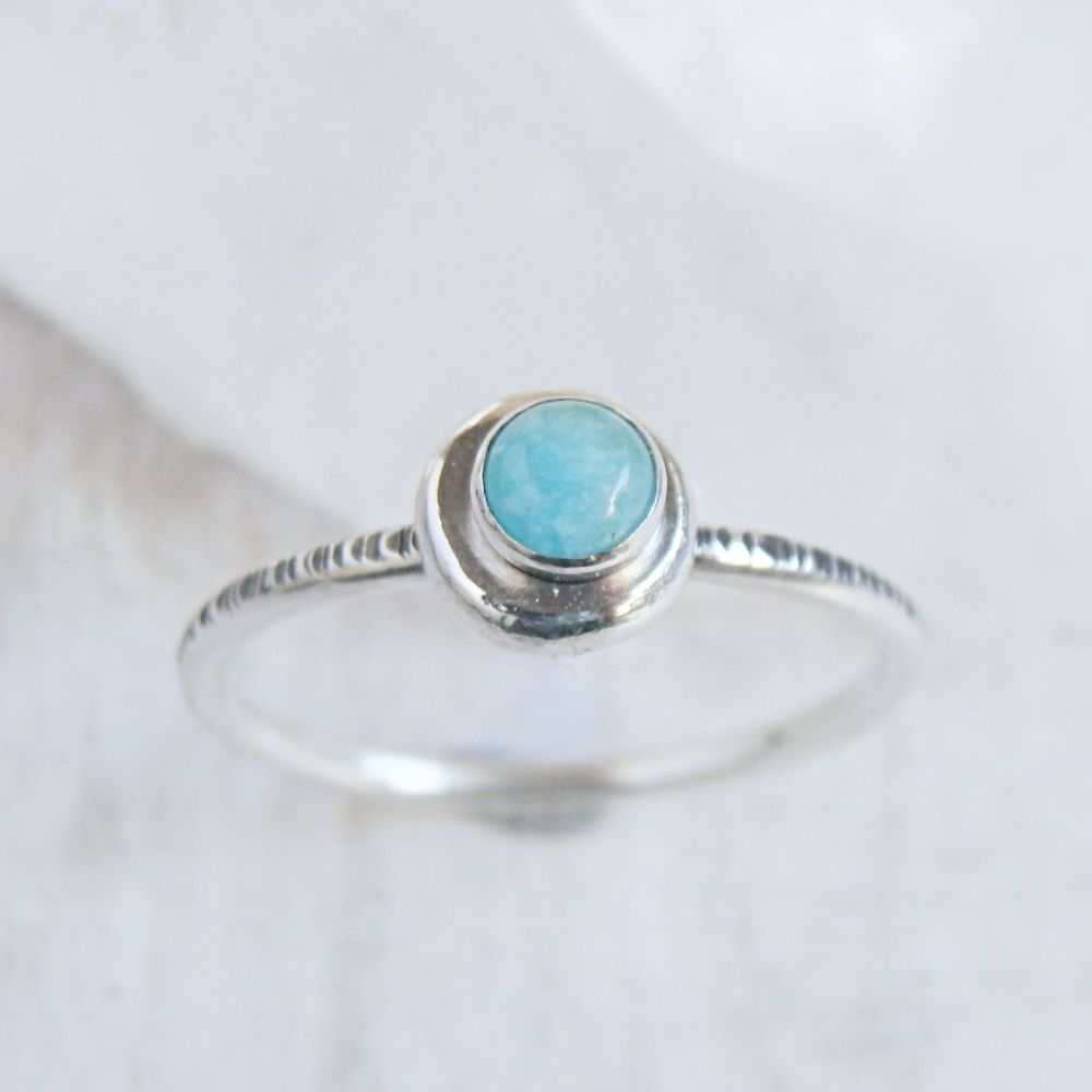 Recycled Sterling Silver Amazonite Pebble Stacking Ring No.2 (size M 1/2)