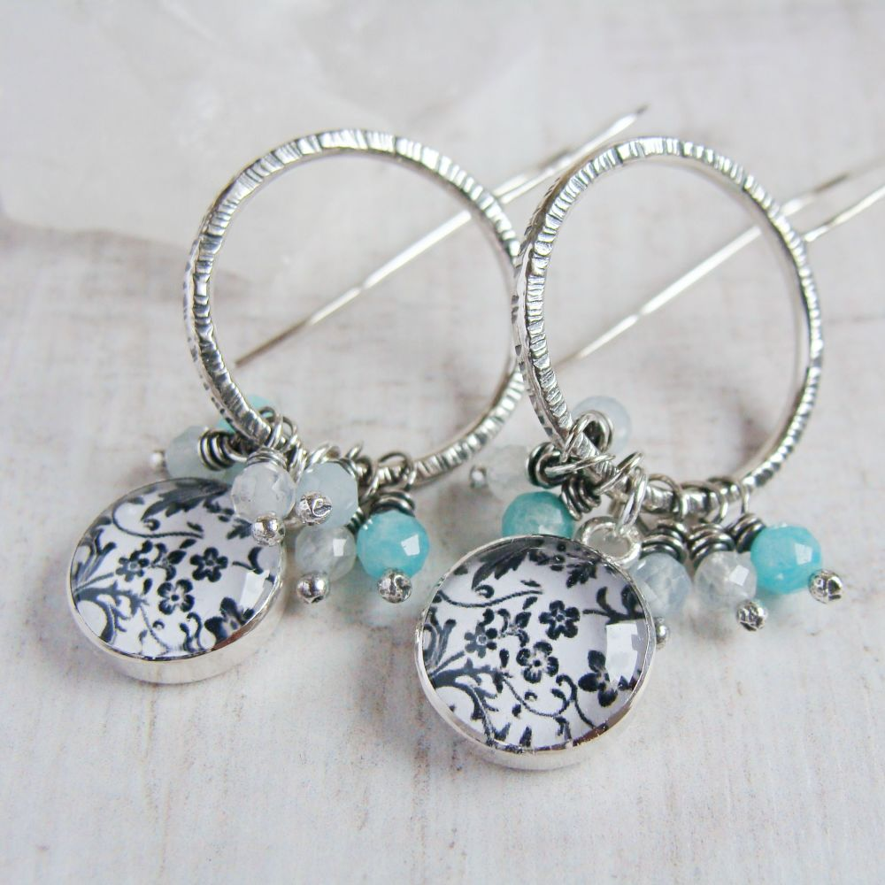 Hammered Sterling Silver Hoop Earrings with Floral Illustration Charms and