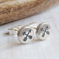 Recycled Sterling Silver Crossed Arrow Stamped Pebble Stud Earrings