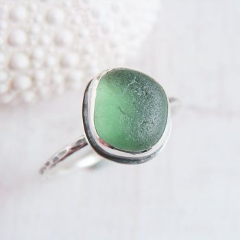 Sterling Silver Green Seaham Sea Glass Stacking Ring No.1 (Size T)