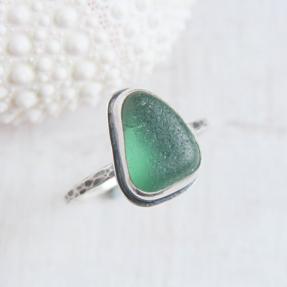 Sterling Silver Green Seaham Sea Glass Stacking Ring No.2 (Size L)