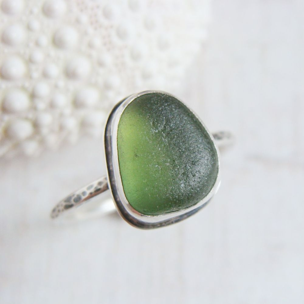Sterling Silver Green Seaham Sea Glass Stacking Ring No.4 (Size P)