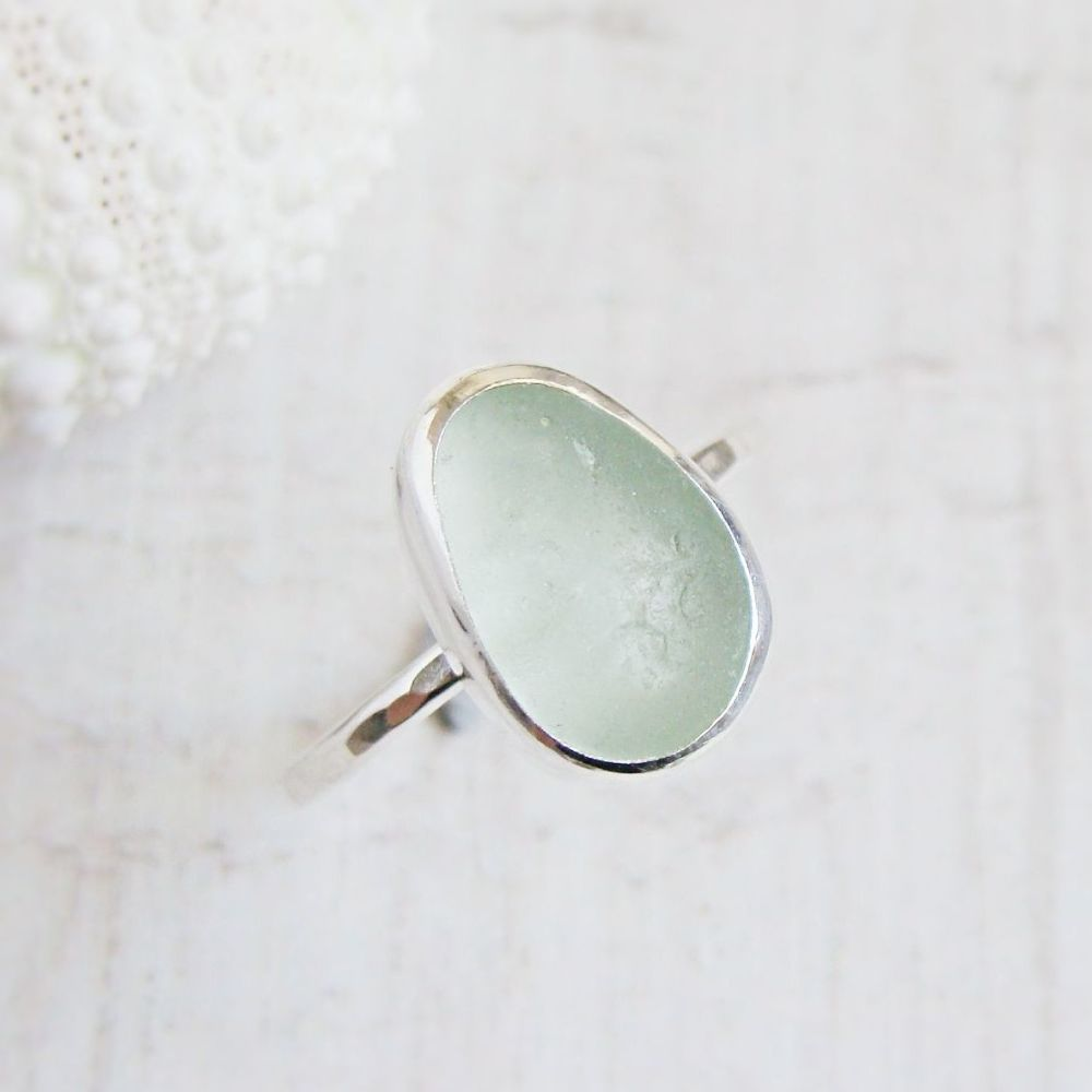 Sterling Silver Pale Aqua Blue Seaham Sea Glass Stacking Ring No.1 (Size M