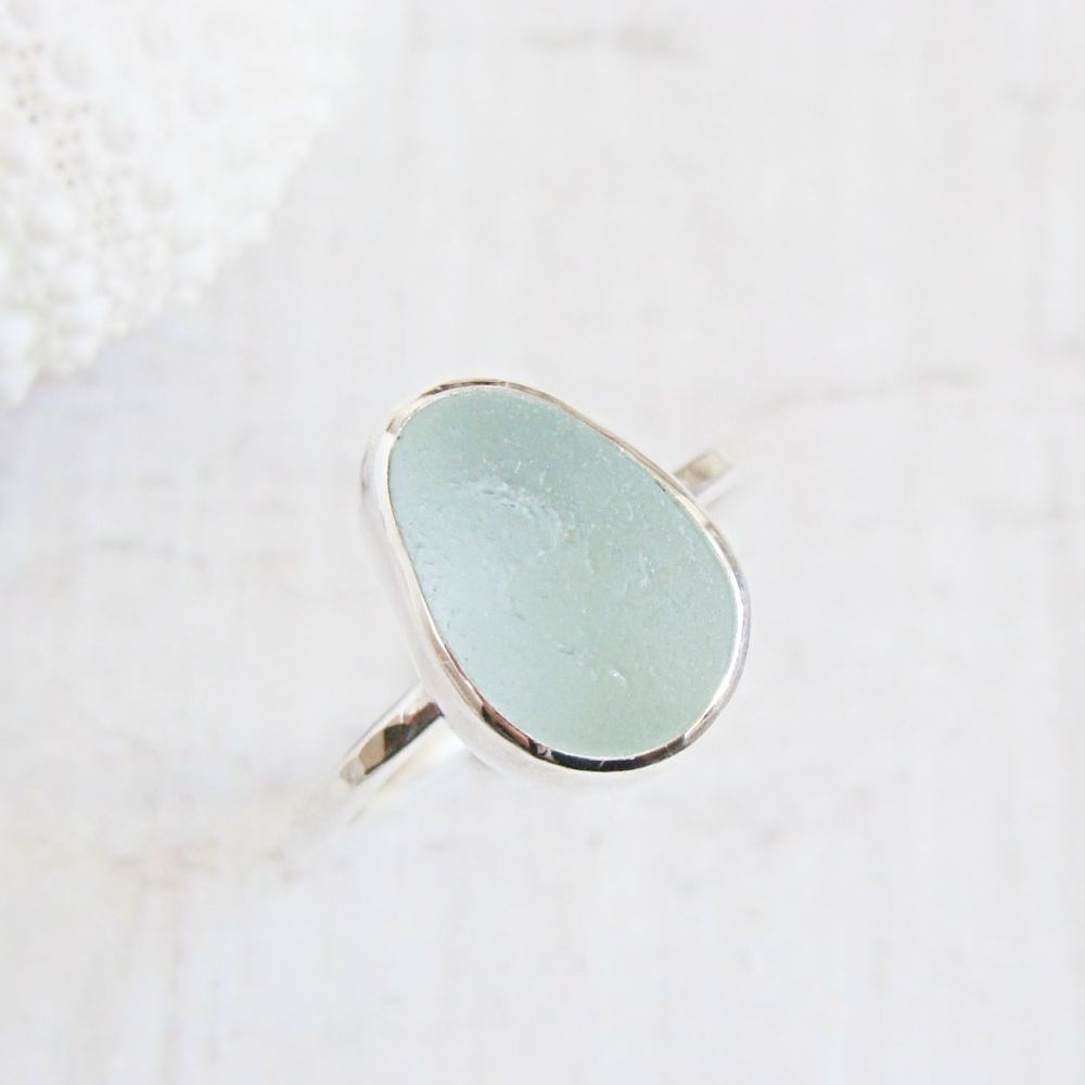 Sterling Silver Pale Aqua Blue Seaham Sea Glass Stacking Ring No.2 (Size O)