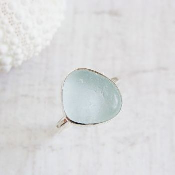 Sterling Silver Pale Aqua Blue Seaham Sea Glass Stacking Ring No.3 (Size K)