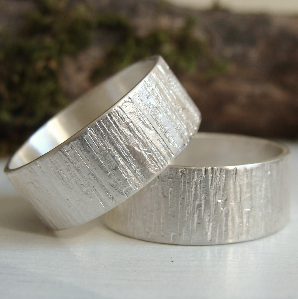Sterling Silver Woodland Bark Texture Ring