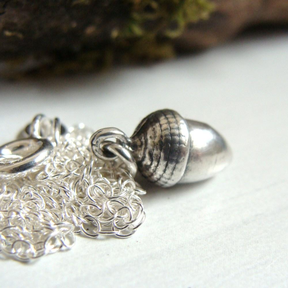 Mighty Oaks From Little Acorns Grow Oxidised Sterling Silver Acorn Charm Ne