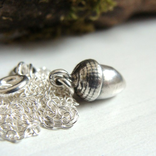 Mighty Oaks From Little Acorns Grow Oxidised Sterling Silver Acorn Charm Ne