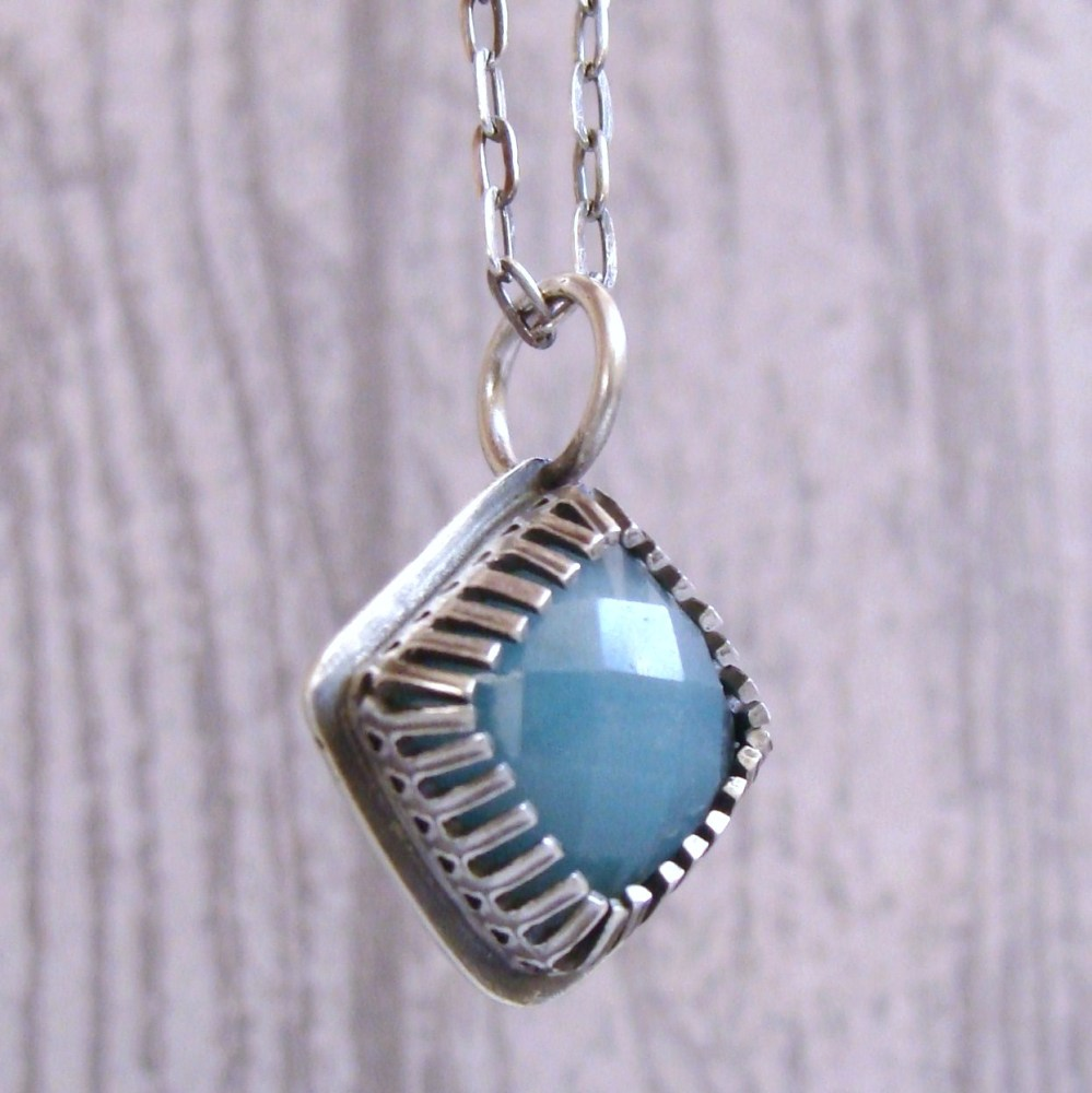 Sterling Silver & Amazonite Pendant Necklace