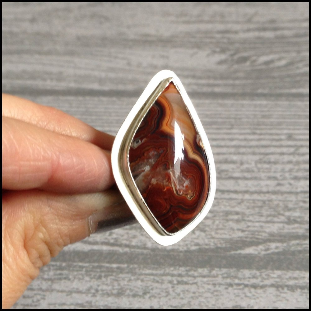 For Keira - Sterling Silver & Laguna Agate Ring