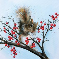 Squirrel & Berries CARD
