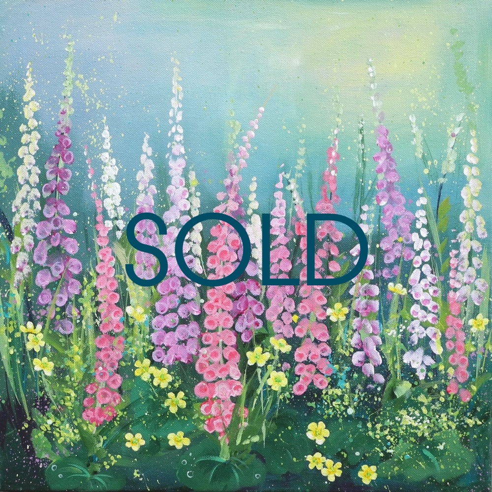 SOLD- Flowerscape 12- Foxgloves