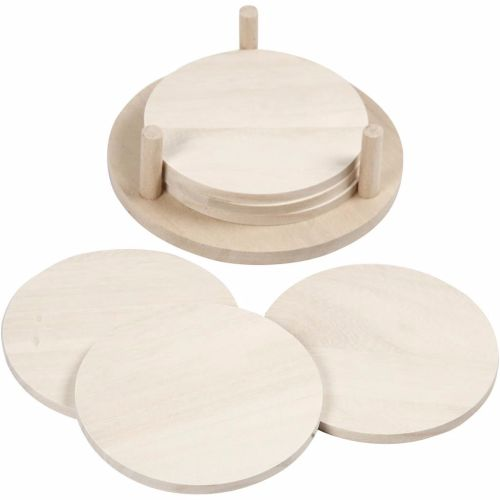 Coaster Set with holder, wooden 9.5cm