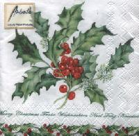 Holly Branch White, 25 x 25cm   (34b)