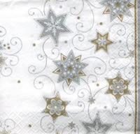 Stars and Swirls Silver, 33 x 33cm   (10a)