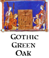 Medieval illustration of Nine Men's Morris board and players and button to information page on Gothic Green Oak