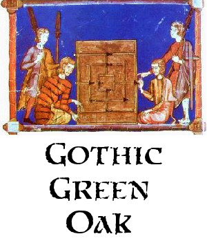 Gothic Green Oak logo and button to about page