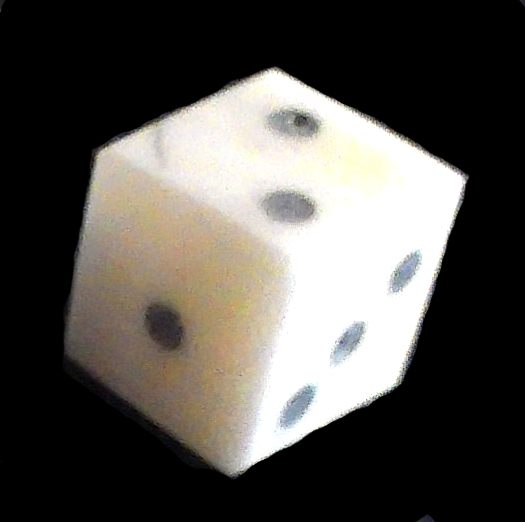 Solid-pip style bone dice from The Historic Games Shop