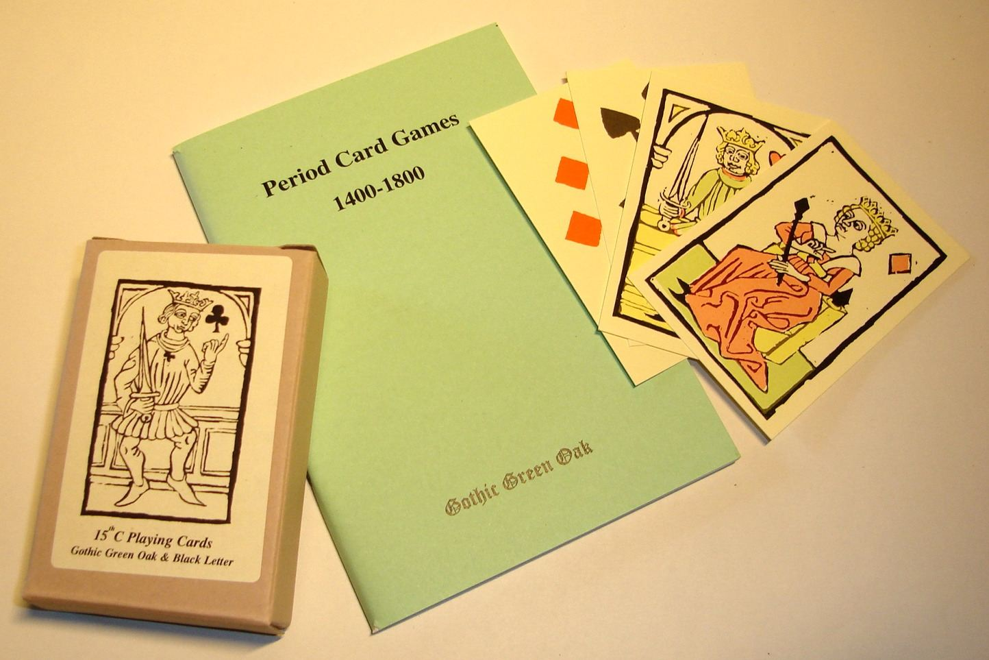 Historic card games rule book plus C15th playing cards