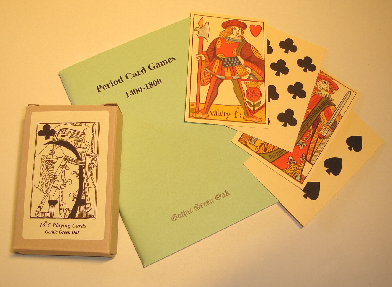 Historic card games rule book plus C16th playing cards