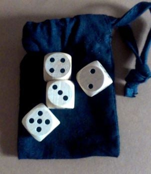Later historic dice-games set - four modern wood dice
