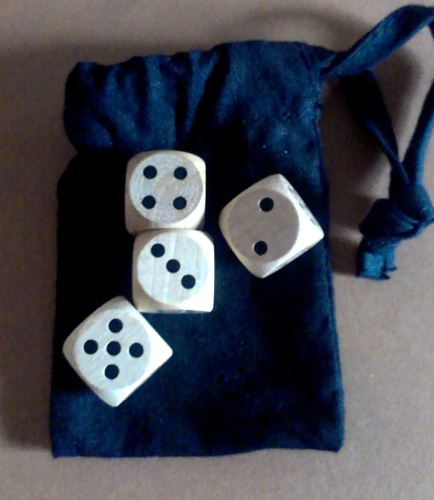 Four-dice historic games set - modern wood dice