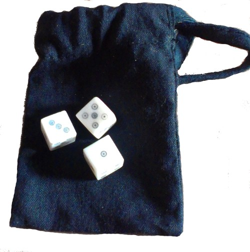 Medieval dice-games set - three ring-and-dot bone dice