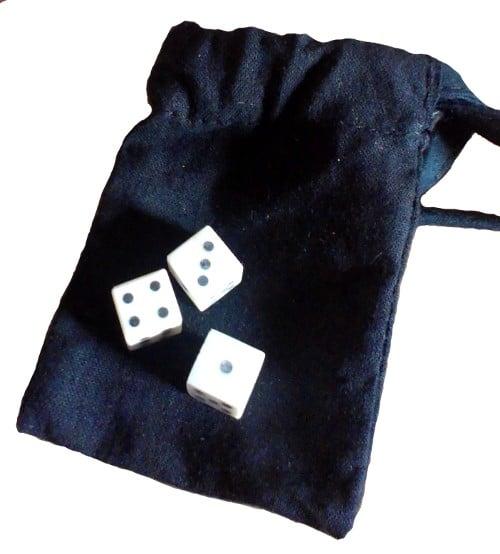 Medieval dice-games set - three solid-pip bone dice