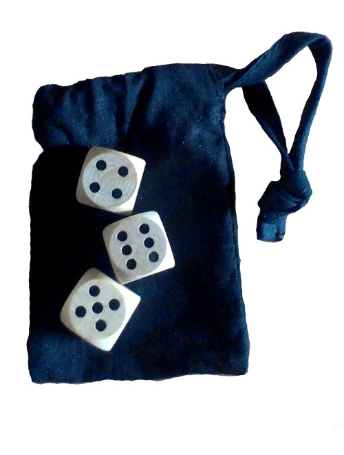 The Game of Hazard - set with three modern wood dice
